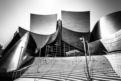 Downtown Stairs Photograph - Walt Disney Concert Hall In Black And White by Paul Velgos