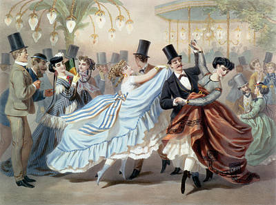 Waltz At The Bal Mabille Avenue Montaigne Paris Print by Charles Vernier