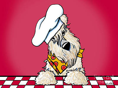 Wheaten Terrier Drawing - Wanna Pizza Me 3 by Kim Niles