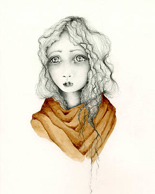 Sad Girl Drawing Drawing - Want by Joanna Haber