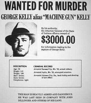 Wanted Poster For Machine Gun Kelly Print by American School