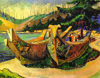 Canoe Digital Art - War Canoes by Emily Carr