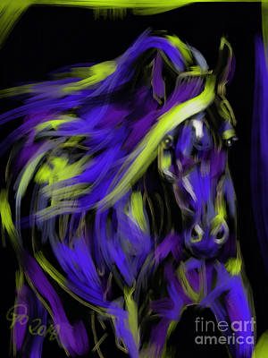Horses Painting - War Horse by Go Van Kampen