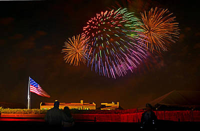 War Of 1812 - Fireworks Bursting In Air 4 Print by Dom J Manalo