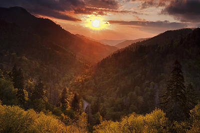 Rays Photograph - Warm Light In The Smokies by Andrew Soundarajan