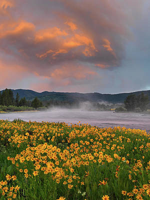 Warm River Sunset Print by Leland D Howard