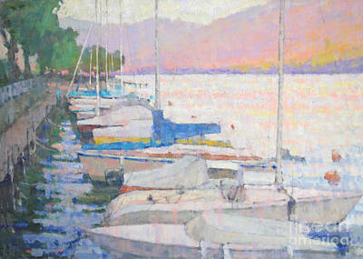 Lake Como Painting - Warm Seduction by Jerry Fresia