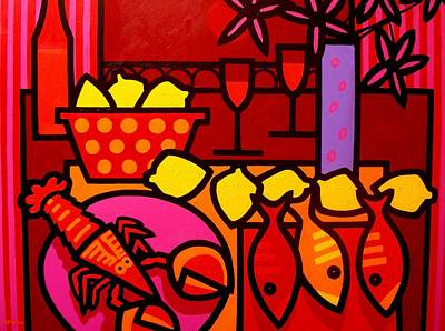 Tropical Fish Painting - Warm Still Life At Window by John  Nolan