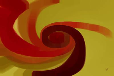 Multicolored Digital Art - Warm Swirl by Ben and Raisa Gertsberg