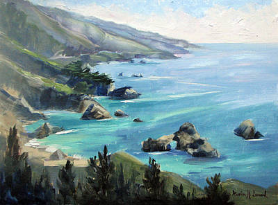 Deep Blue Painting - Warm Winter Day Big Sur by Karin  Leonard