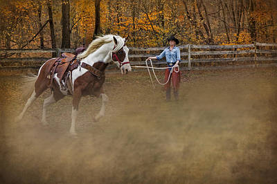 Horse Photograph - Warming Up by Susan Candelario