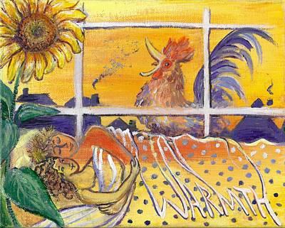 Lovebird Painting - Warmth -sunflower Flower Essence Series by Maria Valladarez
