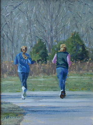 Warner Park Runners Print by Sandra Harris