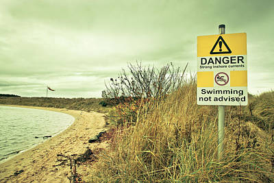Seagrass Photograph - Warning Sign by Tom Gowanlock