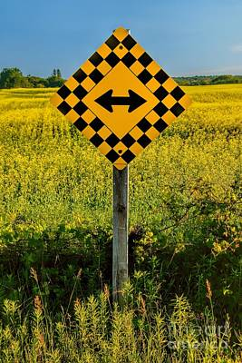 A Sunny Morning Photograph - Warning - Yellow On Both Sides by Henry Kowalski