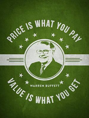 Buffet Drawing - Warren Buffet - Green by Aged Pixel