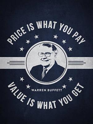Buffet Drawing - Warren Buffet - Navy Blue by Aged Pixel