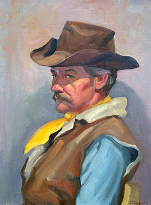 Character Studies Painting - Warren by Leona Turner
