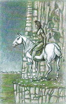 Textured Horse Art Drawing - Warrior Lookout by Bern Miller