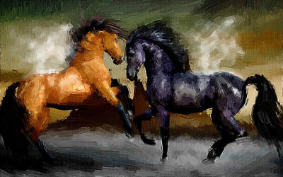 Horse Painting - Warriors by VRL Art