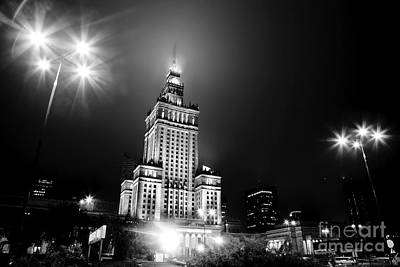 High Tower Photograph - Warsaw Poland Downtown Skyline At Night by Michal Bednarek