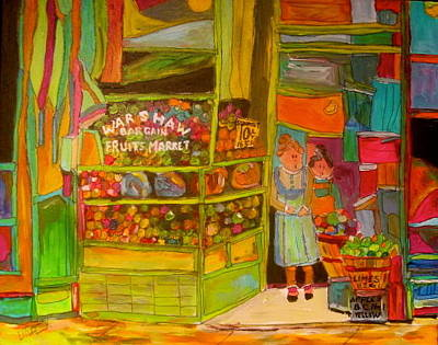 Litvack Naive Painting - Warshaw's Bargain Fruit Market by Michael Litvack