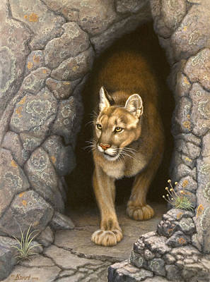 Cougar Painting - Wary Appearance-cougar by Paul Krapf