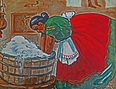 Wash Drawing - Wash Day by Henry Goode