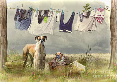 Boxer Dog Mixed Media - Wash Day by Trudi Simmonds