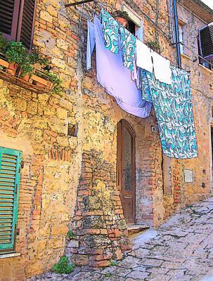 Old Town Digital Art - Wash Day Tuscany by Jan Matson