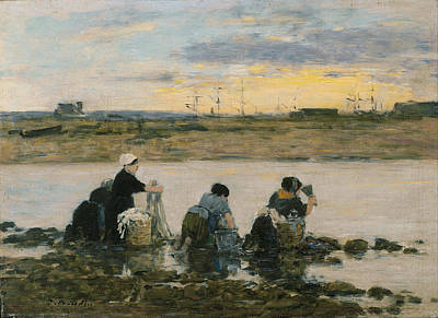 Eugene Boudin Painting - Washerwomen By The River by Eugene Boudin