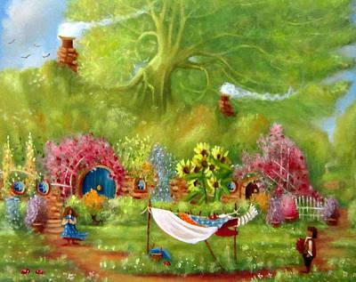 Tolkien Painting - Washing Day Hobbiton/rosie's Roses by Joe  Gilronan