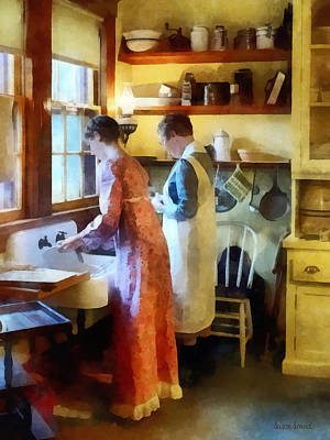 Daughters Photograph - Washing Up After Dinner by Susan Savad