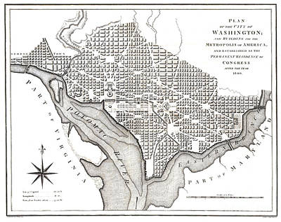 Washington Dc Drawing - Washington - Washington Dc - 1800 by Pablo Romero