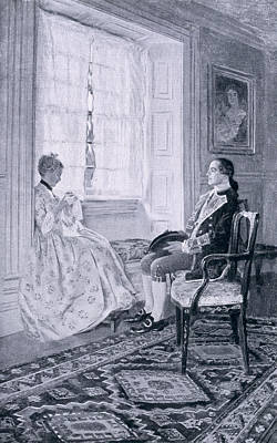Washington And Mary Philipse, Illustration From Colonel Washington By Woodrow Wilson, Pub Print by Howard Pyle