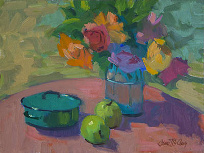 Glass Vase Painting - Washington Apples by Diane McClary