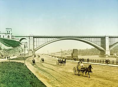 Harlem Digital Art - Washington Bridge And The Harlem River Speedway New York by Digital Reproductions