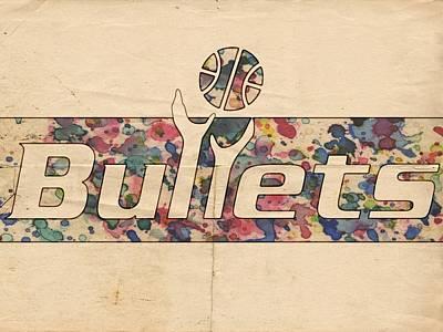 Basketball Painting - Washington Bullets Retro Poster by Florian Rodarte