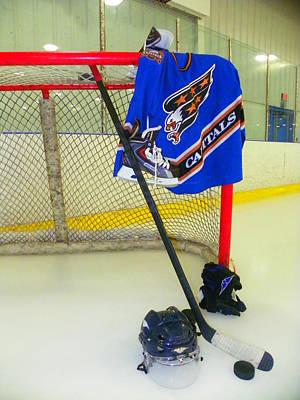 Ice Hockey Photograph - Washington Capitals Blue Away Hockey Jersey by Lisa Wooten