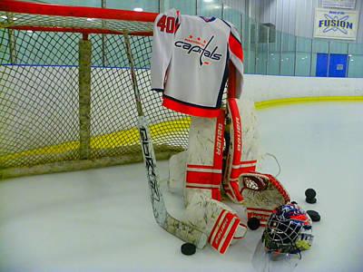 Washington Capitals Hockey Semyon Varlamov Away Jersey Print by Lisa Wooten