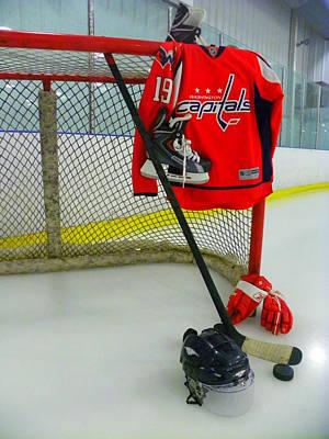 Washington Capitals Nicklas Backstrom Home Hockey Jersey Print by Lisa Wooten
