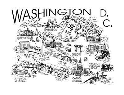 Capitol Building Drawing - Washington D. C.'s Points Of Interest by Robert Tiritilli