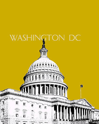 Congress Digital Art - Washington Dc Skyline The Capital Building - Gold by DB Artist