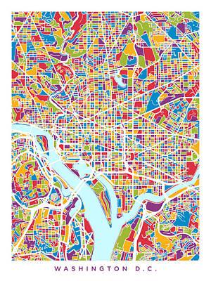 Cityscape Digital Art - Washington Dc Street Map by Michael Tompsett