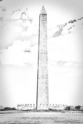 Us Capital Photograph - Washington Monument In Black And White by Emily Kay