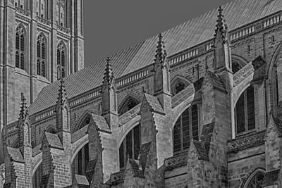 Washington National Cathedral  Bw Print by Susan Candelario
