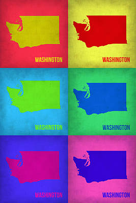 City Map Painting - Washington Pop Art Map 1 by Naxart Studio