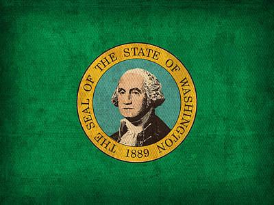 Washington Mixed Media - Washington State Flag Art On Worn Canvas by Design Turnpike