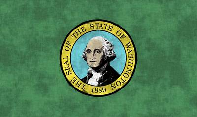 George Washington Digital Art - Washington State Flag by World Art Prints And Designs