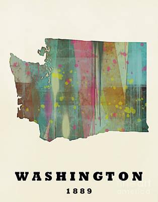 World Map Poster Painting - Washington State Map Modern by Bri B